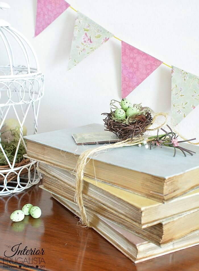 Pastel Painted Decorative Books Vignette