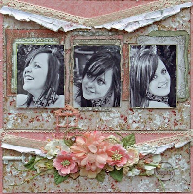 Scraps of Elegance scrapbook kits: Pink multi photo shabby chic layout by Patricia Basson, created with our July kit.