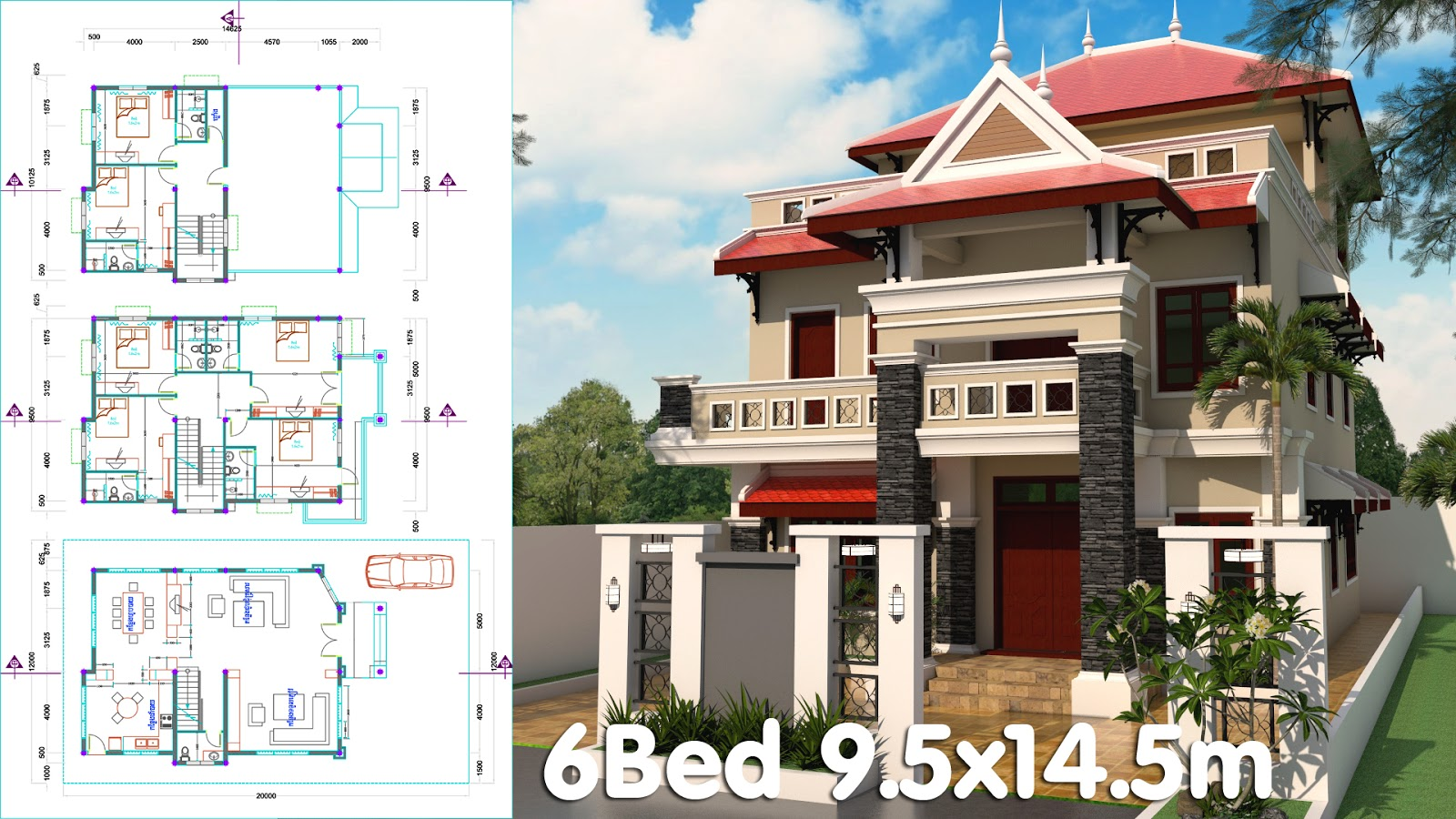 3 Story House Plan 9 5x14 5m With 6 Bedrooms Ma House Plan