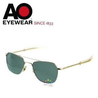 AO Military Original Pilot Aviator Sunglasses (Gold, Green Non-Polarized)