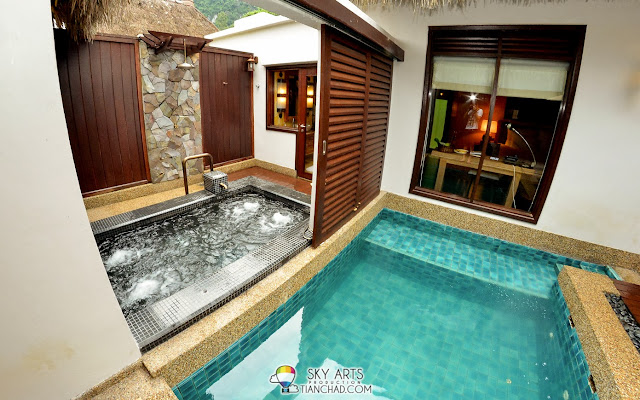 Another view of the private pool and Jacuzzi with natural geothermal hot spring waters @ The Banjaran Water Villa