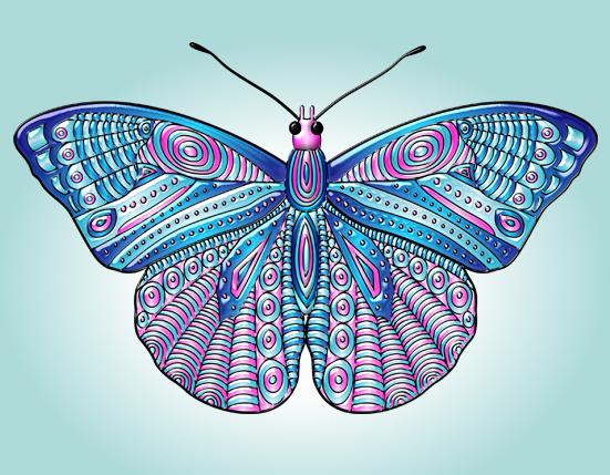 Mariposa estilo Mandala azul, celeste y rosa