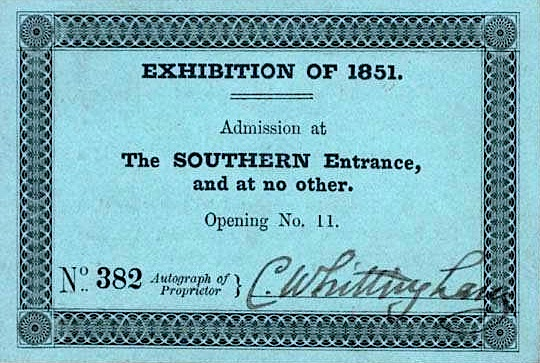 1851 Great Exhibition day ticket