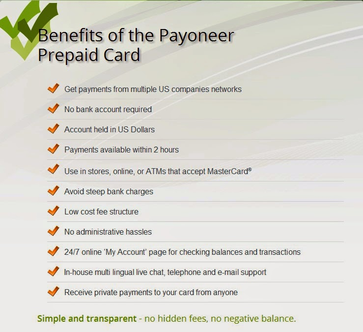 benefits of the payoneer prepaid card