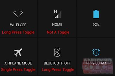 HaceDíasAparecióAndroid 4.2.2 Jelly Bean para un selecto grupo de dispositivos con Android, y si bien el mayor punto a solucionar era el bug que causaba una descoordinación entre el audio y los auriculares Bluetooth, no hay razón alguna para darle alguna otra mejora además de esta. Y dado que ya ha pasado algo de tiempo desde el lanzamiento, pudimos conocer por Android Police algunas de las mejoras implementadas en Android 4.2.2, algunas siendo algo estéticas y otras bastante útiles. La primera de estas modificaciones está relacionada al menú Quick Settings, ya que ahora uno puede activar o desactivar tanto el
