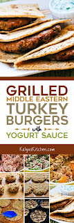 Grilled Middle Eastern Turkey Burgers with Yogurt Sauce found on KalynsKitchen.com