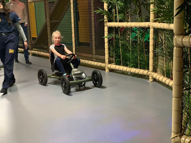 Pedalling around the go kart track called the Raptor Run