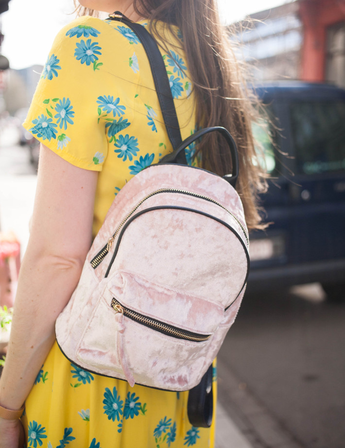 outfit: yellow floral vintage dress, velvet backpack