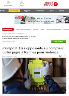 Paimpont : Des opposants au compteur Linky jugés à Rennes pour violence