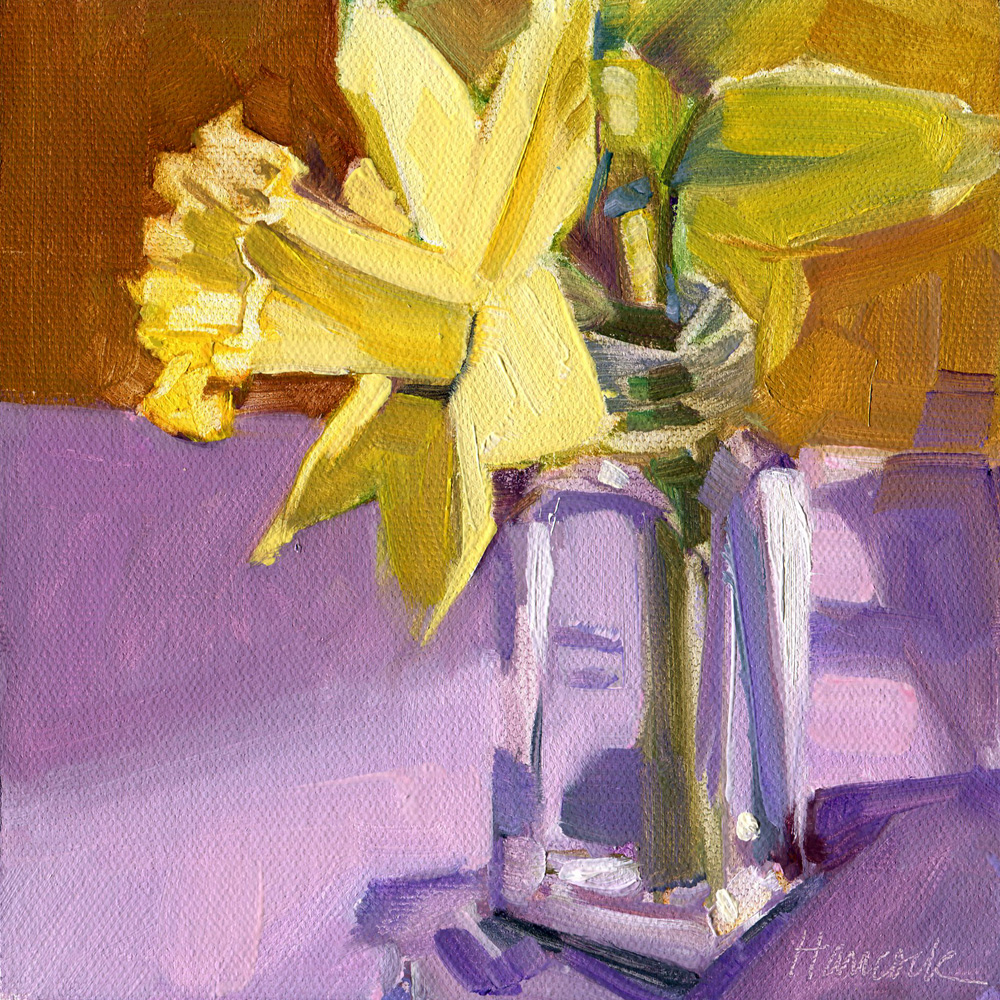 Gretchen hancock 39 s paintings two daffodils purple tabletop for Purple and yellow painting