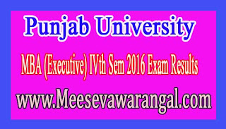 Punjab University MBA (Executive) IVth Sem 2016 Exam Results