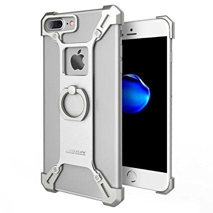 Wilkin Bared Metal Case Back Cover with Enhanced Ring Kickstand for iPhone 8