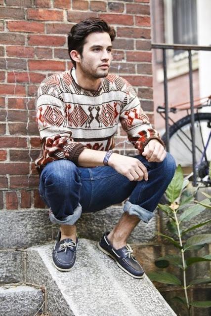 Look Masculino com suéter estampado