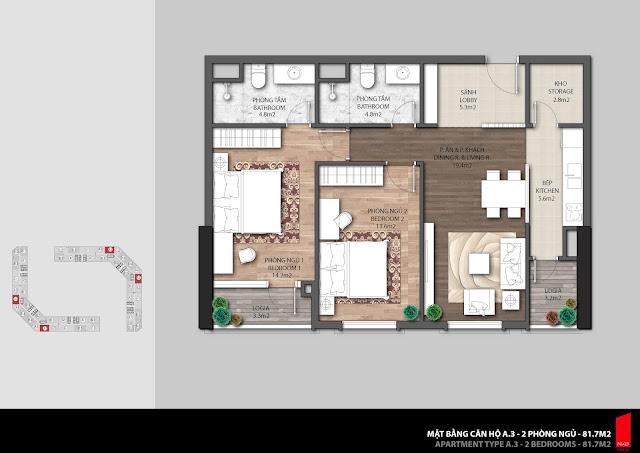 Thiết kế căn hộ A3 - 81,7m2 chung cư The Emerald