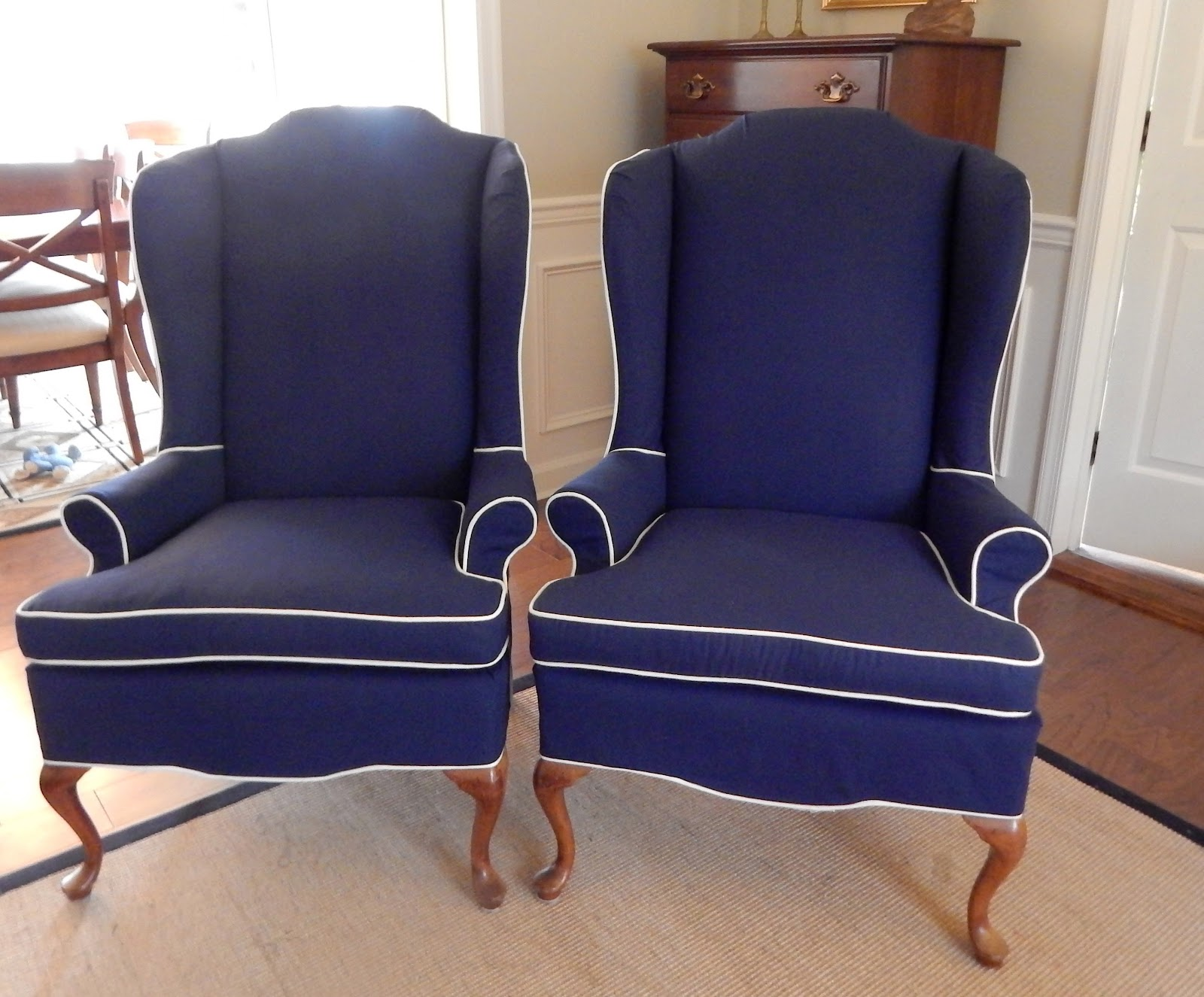 At Home Chairs Pam Morris Sews Navy Blue White Wing Chairs
