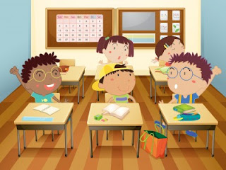 Kids  in a classroom cartoon picture
