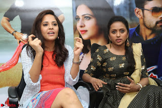 Actress Suma in Black Salwar Suit and Anusuya in orange Dress at winner movie press meet part 2 February 2017 (46).JPG