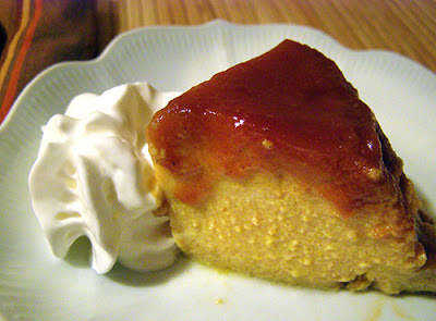 Slice of Pumpkin Flan with Whipped cream