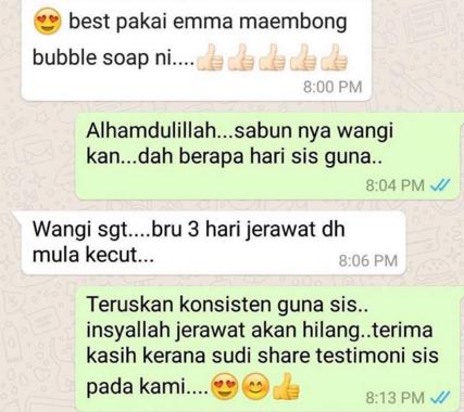 testimoni emma maembong bubble soap