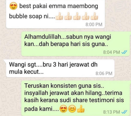 testimoni emma maembong bubble soap