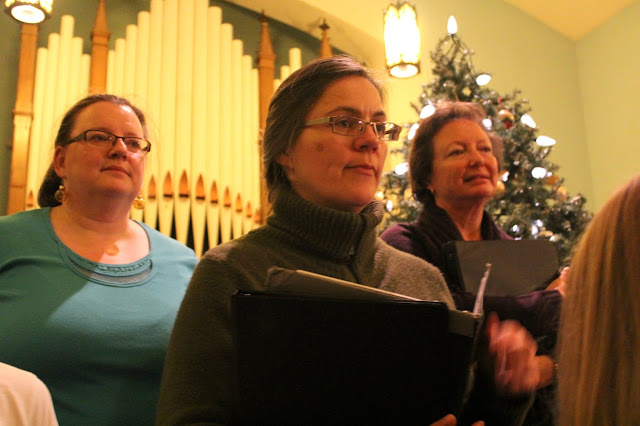 Helen, Kelly and Susan at a dress rehearsal at Almonte United Church