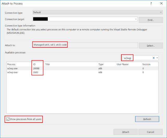 Attaching to IIS process in Visual Studio