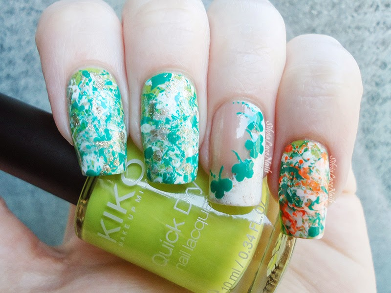 St. Patrick's Day splatter nail art