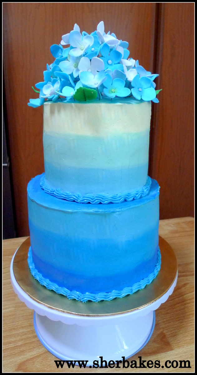 blue ombre wedding cake ombre blue hydrangea wedding cake sherbakes 11997