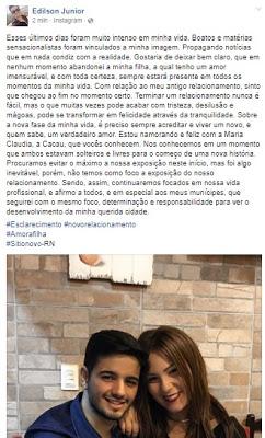 Prefeito de Sítio Novo, Edilson Jr. esclarece tudo que está acontecendo sobre seu relacionamento com a ex-bbb Cacau
