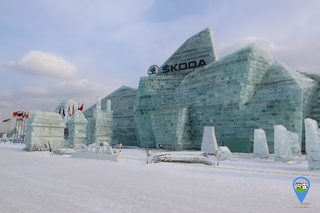 Enjoying watching at Harbin Ice Sculpture Exhibition as these sculptures are designed by using big blocks of ice in Heilongjiang, China