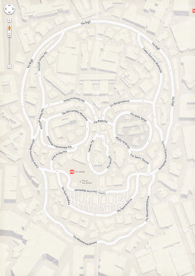 Mapa formando una calavera.