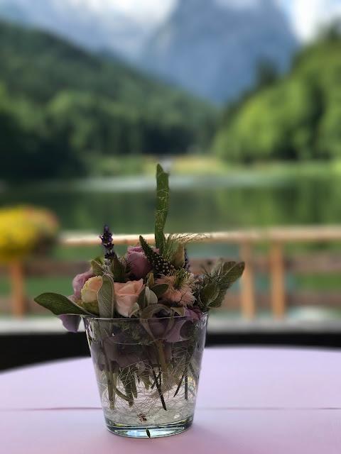 Wild flowers, Wedding abroad, Mountain wedding lake-side at the Riessersee Hotel Resort Bavaria, Germany, Garmisch-Partenkirchen