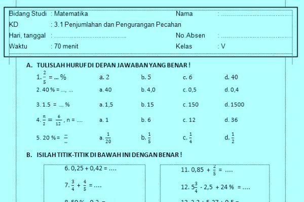 Soal Ulangan Harian Matematika Kelas 5 Kurikulum 2013  Informasi Pendidikan