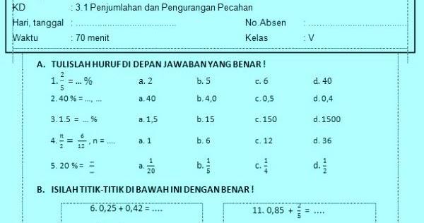 Soal Ulangan Harian Matematika Kelas 5 Kurikulum 2013