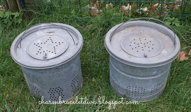 French flower galvanized bucket