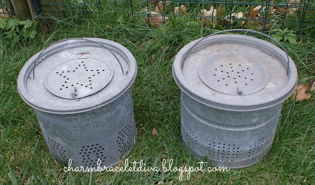 French flower galvanized bucket