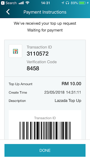 Lazada ewallet topup via 7-11, Need to make payment within 48 hours