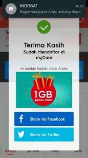 Cara Mendapat Kuota Gratis 1GB Indosat Ooredoo