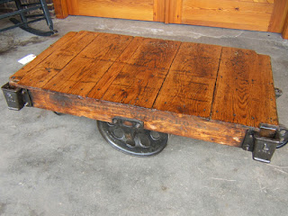 Antique railroad cart coffee table