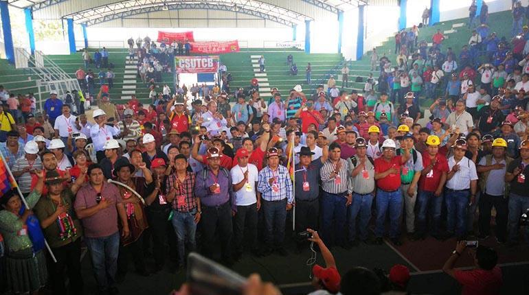 Plana mayor de la COB posesionada el domingo en Santa Cruz / LOS TIEMPOS / MARIBEL DANITZA
