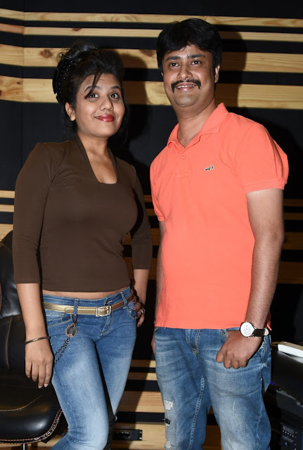 6. Ritu Pathak (Singer), with Abhijeet Aroon (Music Director) during song recording CRAZY BALAM