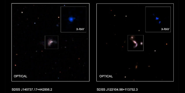 This graphic shows two of five new pairs of supermassive black holes recently identified by astronomers using a combination of data from NASA's Chandra X-ray Observatory, the Wide-Field Infrared Sky Explorer Survey (WISE), and the ground-based Large Binocular Telescope in Arizona. Credits: X-ray (J122104): NASA/CXC/George Mason Univ./S.Satyapal et al.; X-ray (J140737): NASA/CXC/Univ. of Victoria/S.Ellison et al.; Optical: SDSS; Illustration: NASA/CXC/A.Hobart
