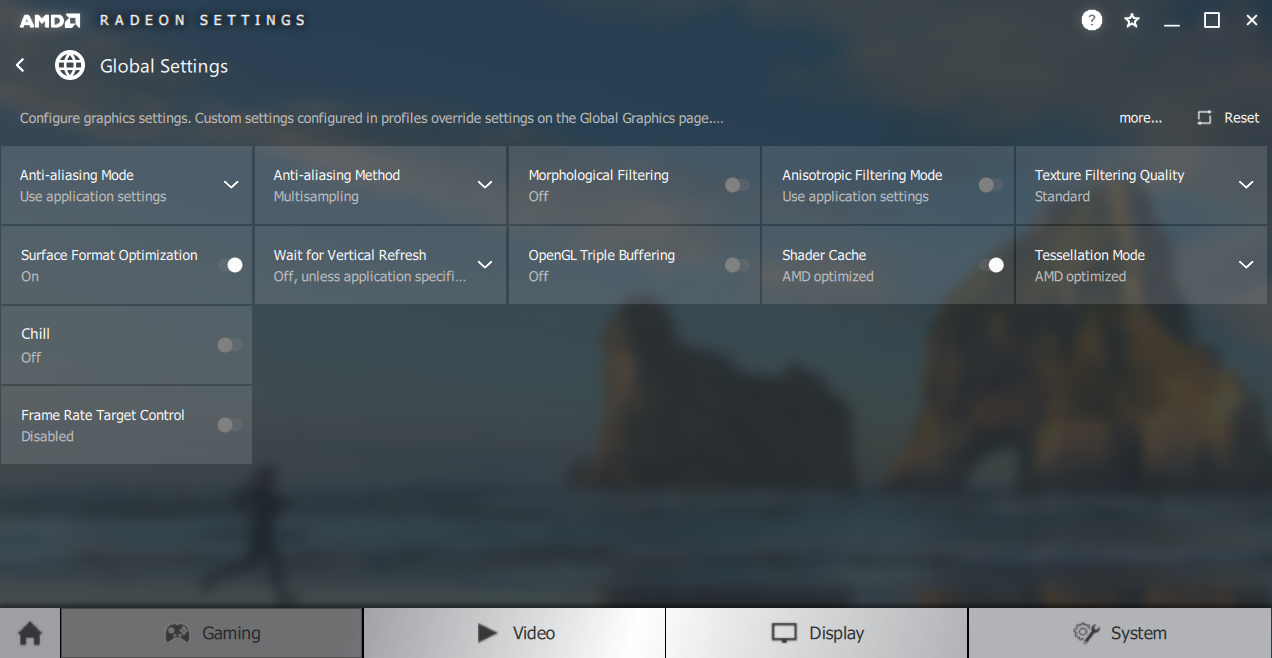 AMD Radeon Settings - Global Settings