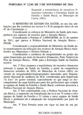 PREJUÍZO: Ministério da Saúde suspende repasses de Caxias