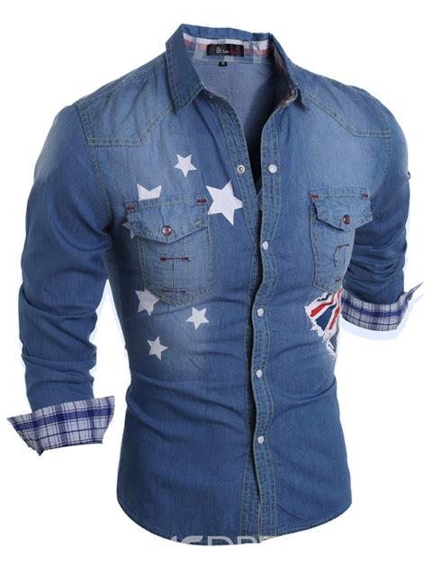 Pocket Print Denim Slim Men's Shirt