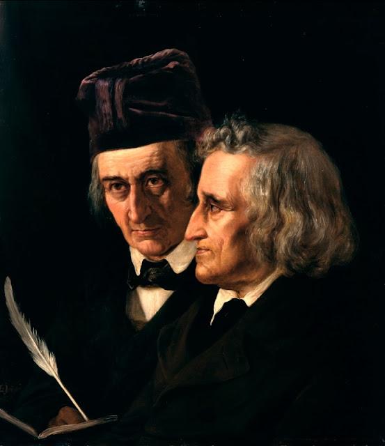 Os irmãos Grimm retratados por Elisabeth Jerichau-Baumann em 1855.