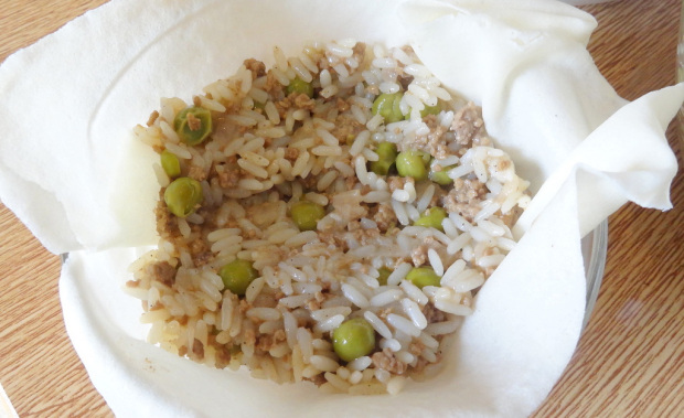 Wrapped Rice With Meat and Peas