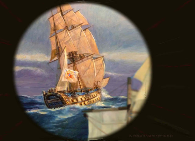 Oleo navio español El Glorioso navegando visto de popa