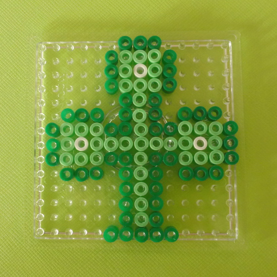 Green cross design pattern fused Hama beads square pegboard