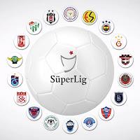 Bir beyaz futbol topu etrafındaki futbol takımı amblemlerinden oluşan süper lig görseli